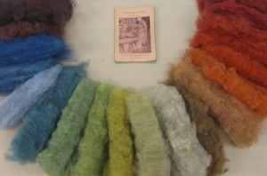 A collection of naturally dyed fiber and a historical dye manual by Emma Conley first published in 1959 of recipes used at the dye house at Penland School of Handicrafts (Felt Technical/Felt Innovative Concentration, Penland School of Crafts workshop, 2010)