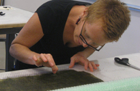 Lisa Klakulak teaching in a workshop in conjunction with the Textiles Today Exhibit at the Durango Art Center, CO 2012