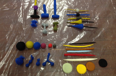 STRONGFELT samples of spheres, discs, barrels, cones and cords and more complex forms created by connecting these basic forms