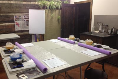 The STRONGFELT STUDIO prior to a course commencing.