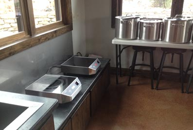 The STRONGFELT STUDIO indoor dye kitchen for classes in natural dye processes.