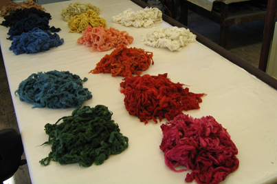 Naturally dyed washed locks of wool fiber (Felt Dimension Concentration, Penland School of Crafts, 2006)