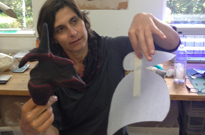 Modifying an additional variable by changing the template resist shape and then applying partial felts to specific areas (Sibylle Werner's work, Kunst-im-Souterrain, Weisbaden, Germany workshop, 2013)