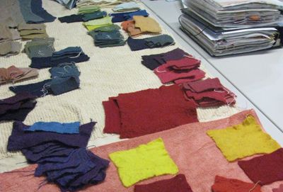 A palette of naturally dyed partial felt sheets (STRONGFELT STUDIO, 2013)