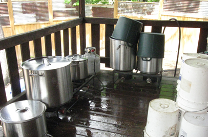 The outdoor dye kitchen used primarily for naturally dyeing large pieces and/or larger quantities of fiber and felted goods.