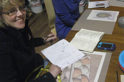 The assessment of colors needed to render a carton of eggs after an initial study to learn the process. (Heather Morrical's work, New England Felting Supply North Hampton, MA workshop, 2013)