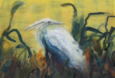 An impressionistic approach to image making using a combination of loose fiber, low integrity partial felts that blurr as well as more fulled partial felts that offer a more defined edge. (Jessie Conley's work, John C Campbell Folk School, Brasstown, NC workshop, 2009)