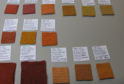 "Notations and samples from experiments in controlling the ""Color Grabbing"" of different fibers dyed simultaneously (STRONGFELT STUDIO, 2009)"