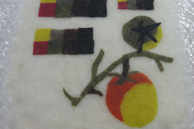 STRONGFELT sample of naturally dyed partial felt for imagery (workshop hosted by Sara Burnett, Rochester, NY, 2012)