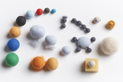 Module 1 Studies of Solid Form-dry ball preparation, felting the skin, fulling a reference gradation, making a fiber tail, dry fiber connections between forms, alternative cores
